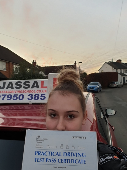 Congratulations Scarlet on passing your Driving Test today! Passed 1st time!..Thanks Jassal for preparing me for my test. I passed first time! He was a calm instructor and helped me get rid of all my bad habits.