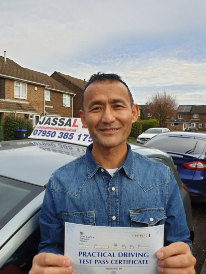 Congratulations Kabindra on passing your Driving Test today in Slough!..<br /> I had a different driving school before I joined Jassal Driving School. I found Jassal to be very helpful in getting me ready for my test. Practiced various routes in a short period of time. His methods were easier and more accurate. I passed today. Thanks Jassal