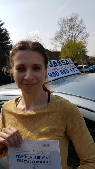 Congratulations Goska on passing your Driving Test today on your 1st attempt! Only 5 minors in Slough..Thank you Jassal so much for preparing me for my test. I passed first time!!! Your feedback during lessons helped to instil good safe habits in my driving. Also the reference points you gave for manoeuvres made them easy to do. On the test today I did parallel parking brilliantly! Thanks :-)