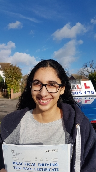 Congratulations Avneet on passing your Driving Test 1st time Slough<br />
