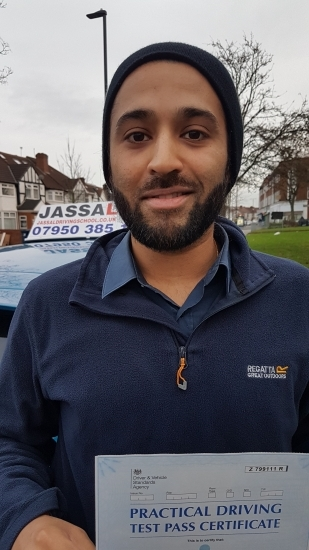 Congratulations Barry on passing your Test on your 1st attempt with Jassal Driving School Southall