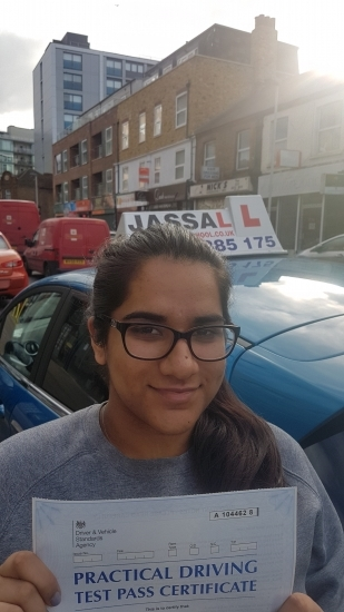Congratulations Nikita on passing your Driving Test Hayes<br /> <br /> Thanks Jassal for all the help and being so patient The advice I got was very helpful and the lessons were always enjoyable One thing I would say that I liked about the lessons was that you noticed my faults and driving habits and helped me refine them Thanks for all the help and I would recommend to any people looking for a good te