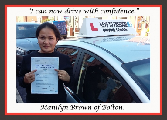Manilyn Brown of Bolton is very happy to show of her driving test pass certificate, as she reviews Keys to Freedom Driving School Bolton.