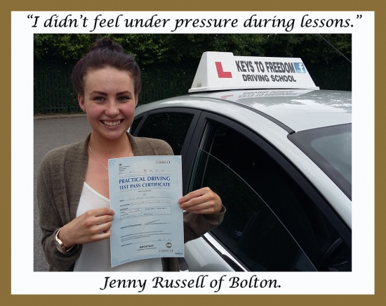 Another practical driving test first time pass for Keys to Freedom Driving School Bolton.<br />
