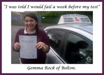 Driving school review, by Gemma Rock of Bolton.
