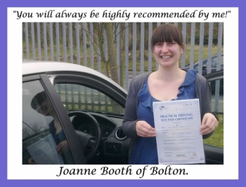 Driving school review, by Joanne Booth of Bolton.