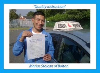 Driving school review, by Mario Stoican of Bolton.