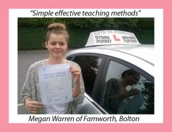 Driving school review, by Megan Warren of Farnworth, Bolton.