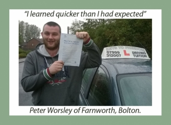Driving school review, by Peter Worsley of Bolton.
