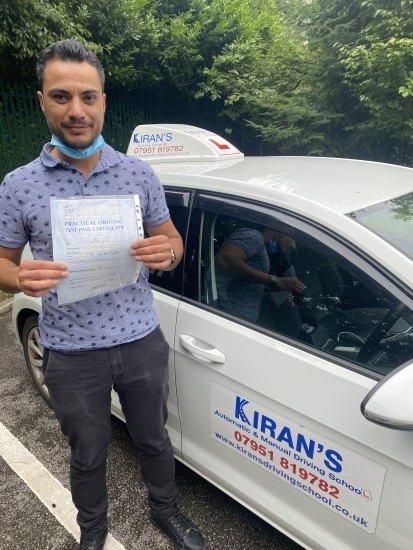 Congratulations Abbas on passing your driving test first time at bolton test centre - wishing you many miles of safe driving