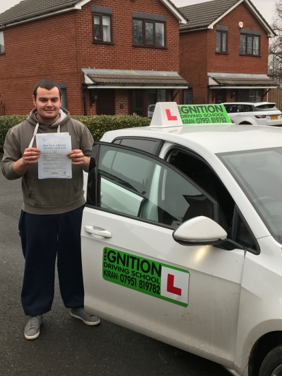 Congratulations to Luke on passing his driving test at bolton test centre 1st time with only 1 minor<br /> Great drive well done - wishing you many miles of safe driving