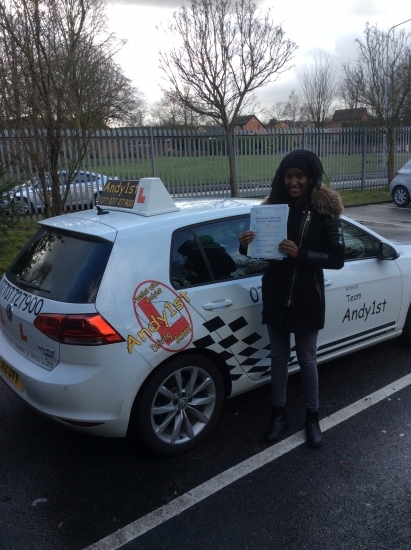 Congratulations to Hani on passing your driving test at bolton test centre 1st time with 3 minors<br /> good drive, all the best with your uni exams and wishin you many miles of safe driving