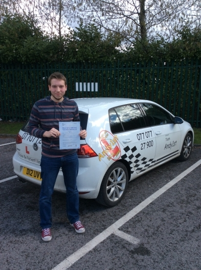 Well done to Daniel on passing his driving test at bolton test centre 1st time with few minors<br /> good drive wish you all the best