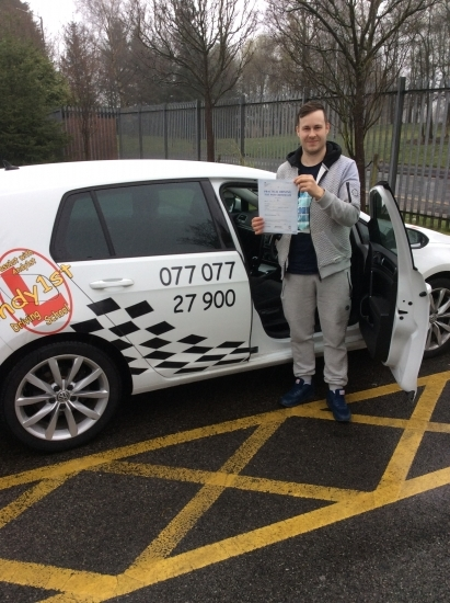 Congratulations to Andy on passing your driving test at bolton test centre<br /> Great drive well done wishing you many miles of safe driving