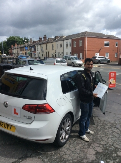 Well done to sunil on passing his driving test at bolton test centre - all the best