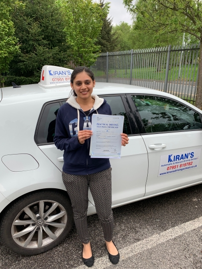 Very well done to Priya on passing her driving test at bolton test centre