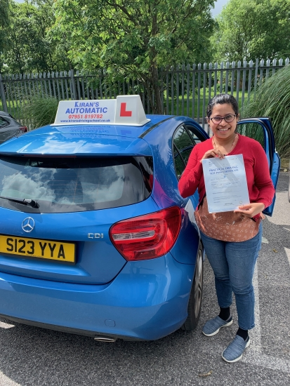 Here is Arathy who passed her Automatic driving test with me first time with only 1 minor