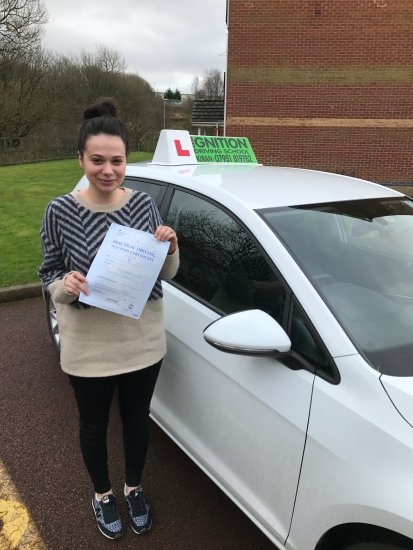 congratulations to Jasmine on passing her driving test 1st time at bolton with few faults<br />