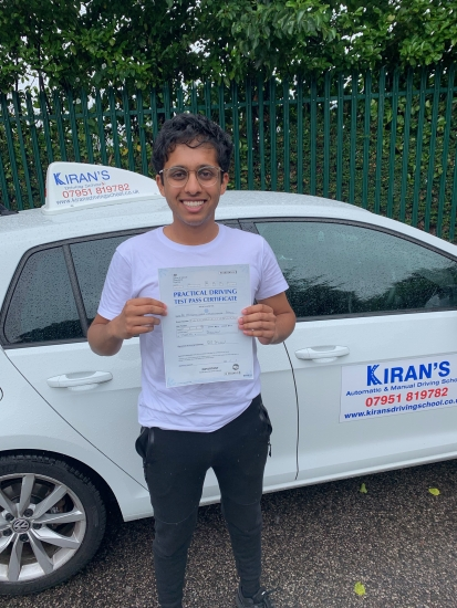 Congratulations to priyam on passing his driving test at bolton test centre first time