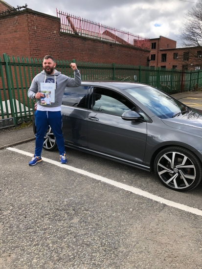 Congratulations to Robin passing his driving test with <br />