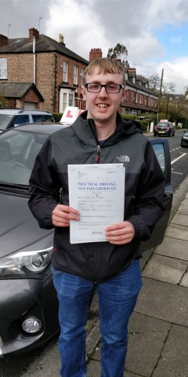 Congratulations to Jason passing his driving test with <br />