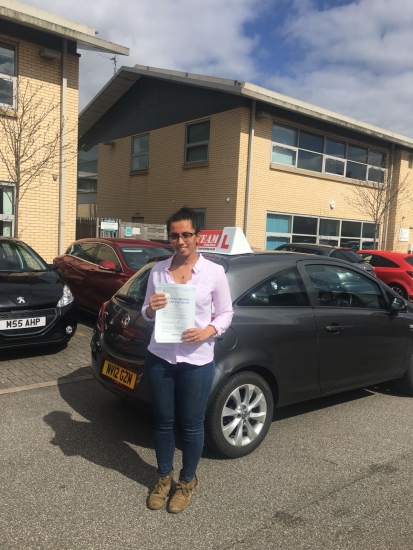 Congratulations to Tanis passing her driving test with <br />