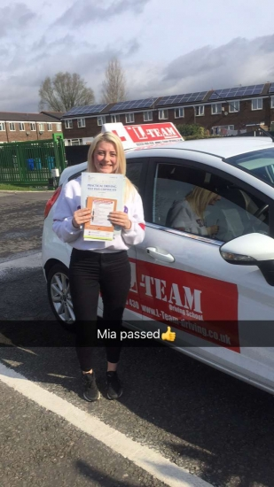 Congratulations to Mia passing her driving test with<br />