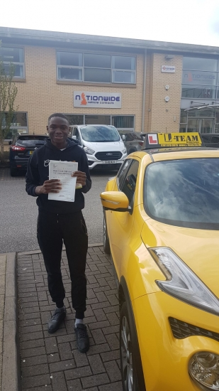 Congratulations to Malik passing his driving test with <br />