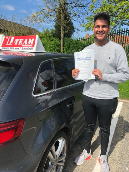 Congratulations to Aman passing his driving test with<br />