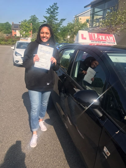 Congratulations to Shareen passing her driving test with <br />