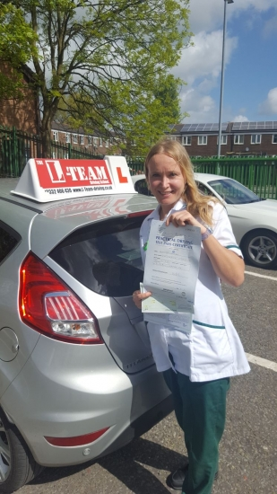 Congratulations to Alex passing her driving test with <br />