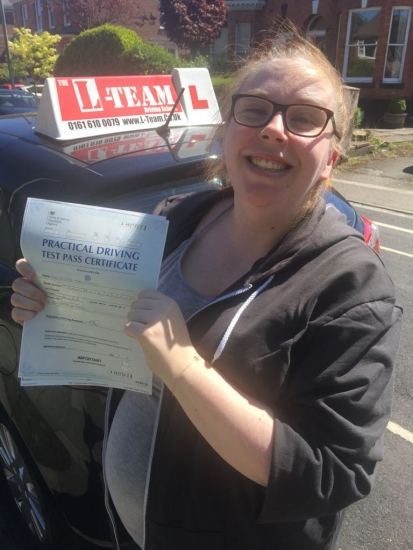 Congratulations to Ellesse passing her driving test with <br />