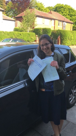 Congratulations to Malky  passing her driving test with <br />