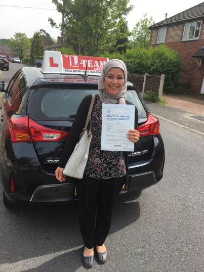 Congratulations to Hend passing her driving test with <br />