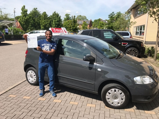 Congratulations to Ekene passing his driving test with <br />
