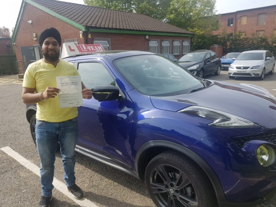 Congratulations to Charan passing his driving test with <br />