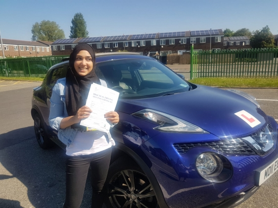 Congratulations to Nafeesa passing her driving test with <br />