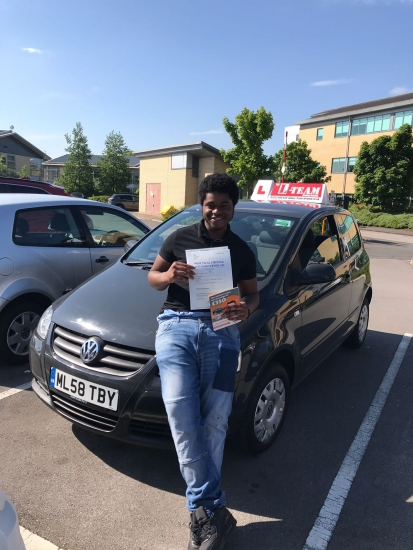Congratulations to Rusholme passing his driving test with <br />
