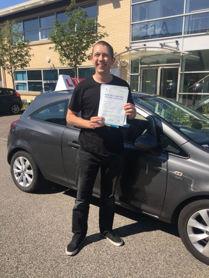 Congratulations to Gregg passing his driving test with <br />