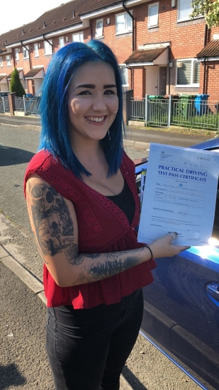 Congratulations to Regan passing her driving test with <br />