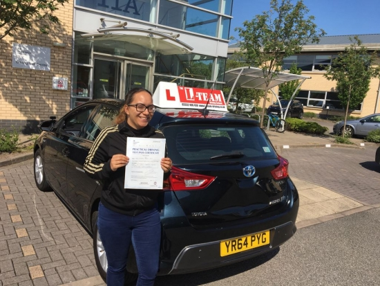 Congratulations to Alganesh passing her driving test with <br />