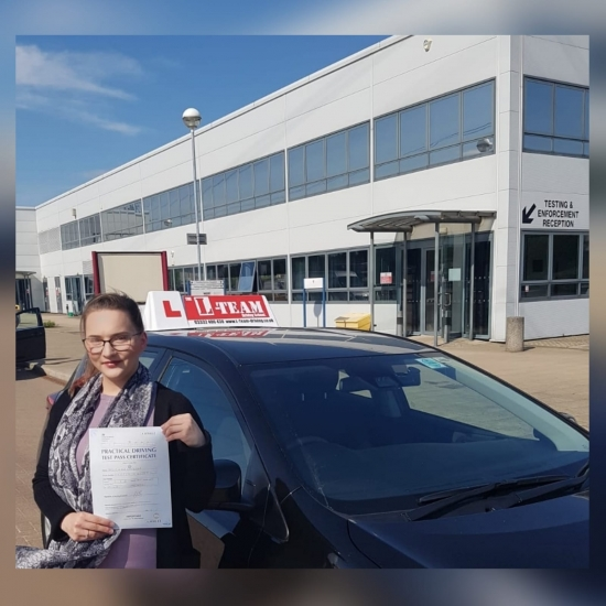Congratulations to Klaudia passing her driving test with <br />