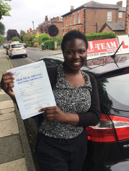 Congratulations to Memouna passing her driving test with <br />