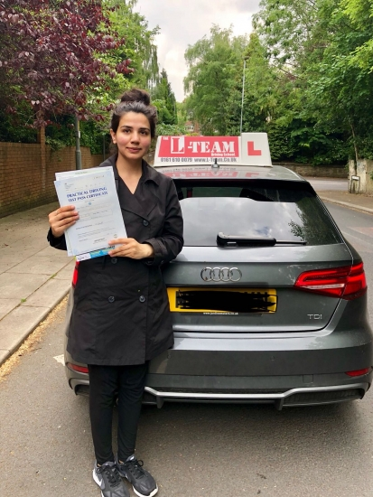 Congratulations to Hira passing her driving test with <br /> L-Team driving school for the first time!! #passed#driving#learner� #manchester#drivinglessons #help #learning #cars Call us know to get booked in on 0333 240 6430<br /> <br /> <br /> PASSED MAY 2018�