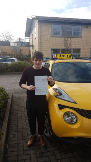 Congratulations to James passing his driving test with <br />