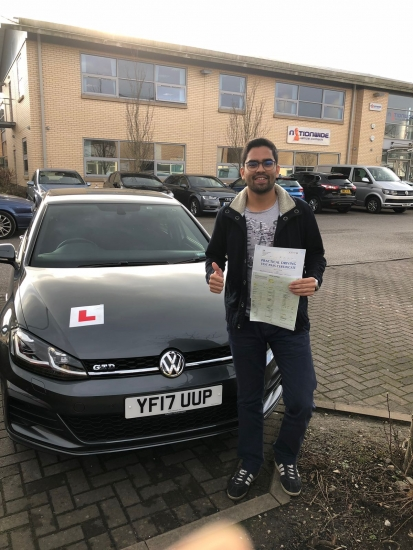 Congratulations to Raayan passing his driving test with <br />
