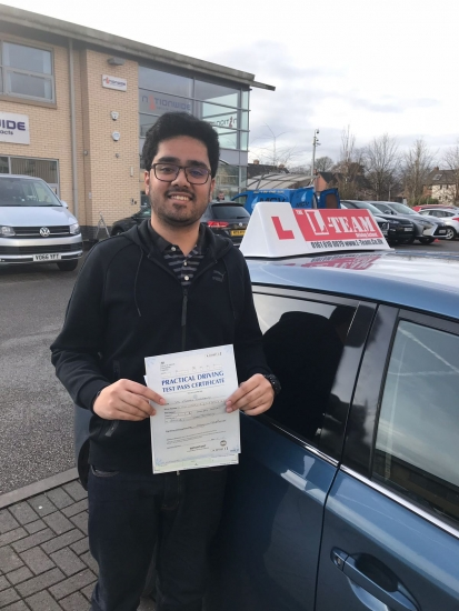 Congratulations to Farhan passing his driving test with <br />