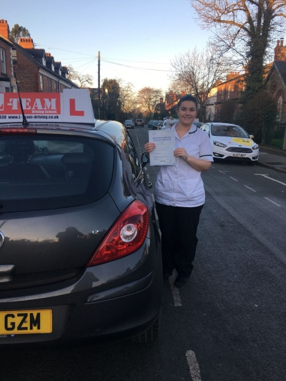 Congratulations to Emer passing her driving test with<br />