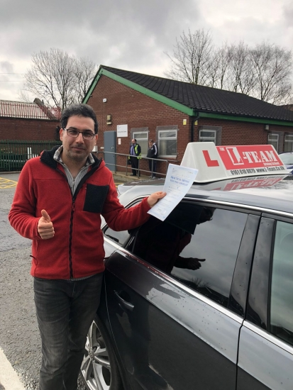 Congratulations to Reza passing his driving test with<br />