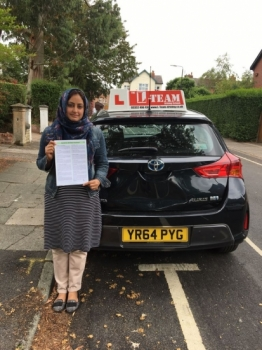 Congratulations to Nazia passing her driving test with L-Team driving school for the first time!! #passed#driving#learner🏆 #manchester#drivinglessons #help #learning #cars Call us now to get booked in on 0333 240 6430<br /> <br /> PASSED JUNE 2018 🏆